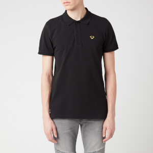 True Religion Men's Gold Lurex Polo Shirt - Black