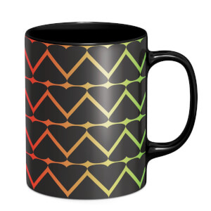 Hearts On Rainbow Mug - Black