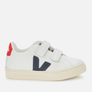 Veja Toddler's Esplar Velcro Leather Trainers - Extra White/Nautico/Pekin