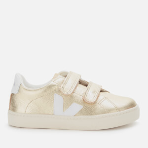 Veja Kid's Esplar Velcro Leather Trainers - Gold/White