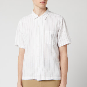 Universal Works Men's Rancho Stripe Road Shirt - White/Raisin