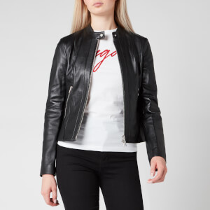 HUGO Women's Lonia Leather Jacket - Black