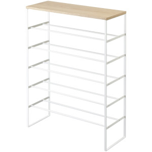 Yamazaki Tower 6 Tier Shoe Rack with Shelf - White