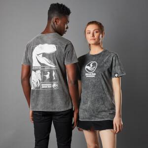 Jurassic Park Priimal Raptor Unisex T-Shirt - Black Acid Wash