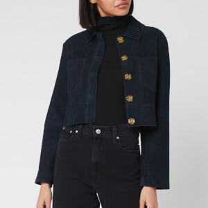 Whistles Women's Selena Cropped Suede Jacket - Navy