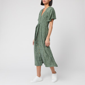 Whistles Women's Anita Spotted Animal Frill Sleeve Dress - Green/Multi