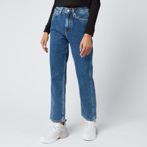 Calvin Klein Jeans Women's High Rise Straight Ankle Jeans - Light Blue