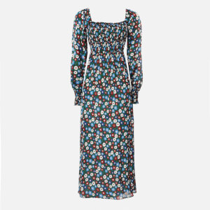 RIXO Women's Marie Midi Dress - Retro Micro Floral