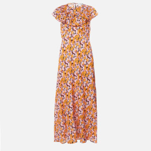 RIXO Women's Lacey Midi Dress - Abstract 60S Floral Yellow Pick