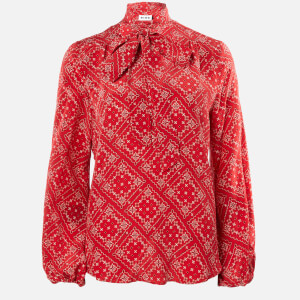 RIXO Women's Moss Blouse - Scarf Floral Red