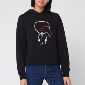 Karl Lagerfeld Women's Ikonik Karl Outline Hoodie - Black