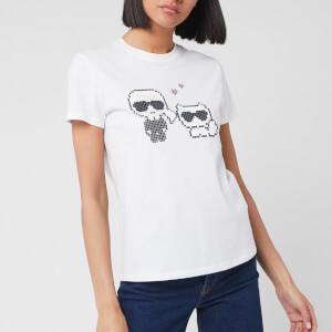 Karl Lagerfeld Women's Karl Pixel Choupette T-Shirt - White