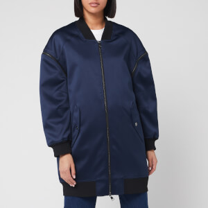 Karl Lagerfeld Women's Bomber with Zip Off Sleeves - Navy/Black