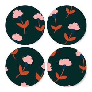 Dark Tone Florals Coaster Set