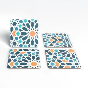 Geometric Flower Tiles Coaster Set
