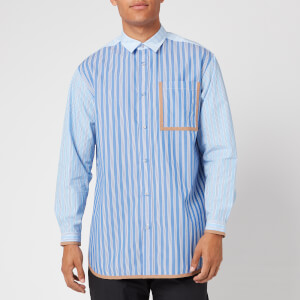 White Mountaineering Men's Striped Big Shirt - Blue