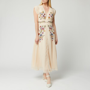 Hope & Ivy Women's Embroided Midi Dress - Cream
