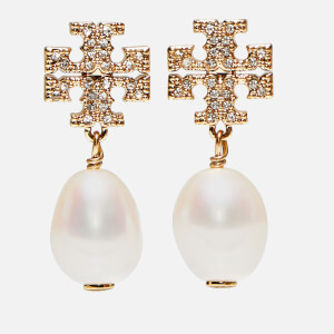 Tory Burch Women's Kira Pave Pearl Drop Earrings - Tory Gold/Pearl