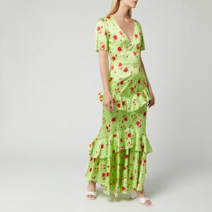 De La Vali Women's Juliette Silk Satin Dress - Green Rose