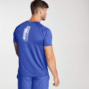 Printed Training Short Sleeve T-Shirt för män – Blå