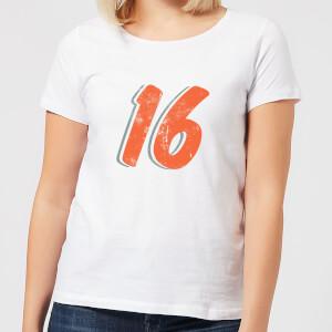 16 Distressed Women's T-Shirt - White