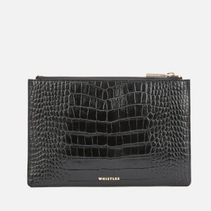 Whistles Women's Shiny Croc Small Clutch Bag - Black