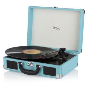iTek Portable Turntable with Built-in Speakers - Blue
