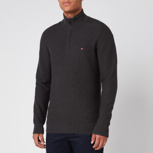 Tommy Hilfiger Men's Zip Mock Neck Sweatshirt - Charcoal Heather