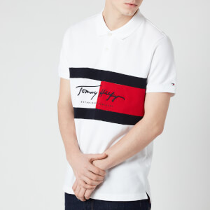 Tommy Hilfiger Men's Slim Fit Autograph Flag Polo Shirt - White