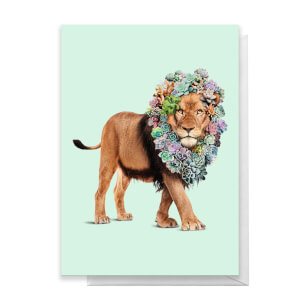 Succulent Lion Greetings Card