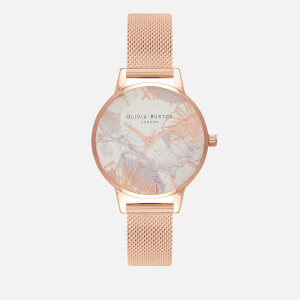 Olivia Burton Women's Abstract Florals Watch Mesh - Rose Gold