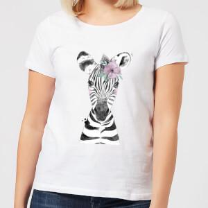 Floral Zebra Women's T-Shirt - White