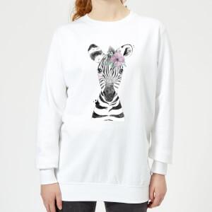 Floral Zebra Women's Sweatshirt - White