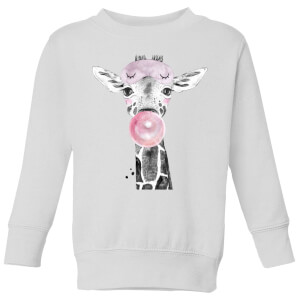 Bubblegum Giraffe Kids' Sweatshirt - White