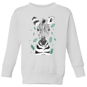 Zebra And Leaves Kids' Sweatshirt - White