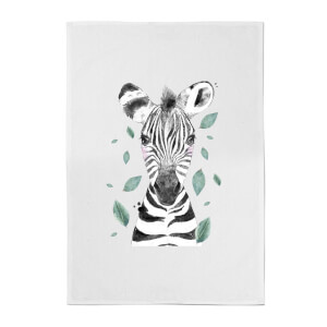 Zebra And Leaves Cotton Tea Towel
