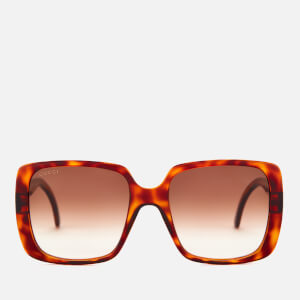 Gucci Women's Oversized Square Frame Acetate Sunglasses - Havana/Brown