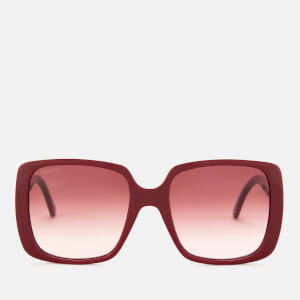 Gucci Women's Oversized Square Frame Acetate Sunglasses - Burgundy/Red