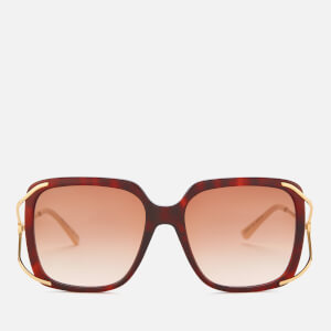 Gucci Women's Oversized Square Frame Acetate Sunglasses - Havana/Gold/Brown