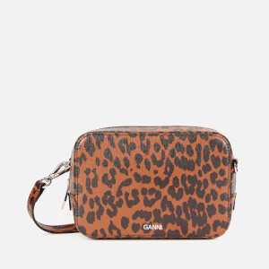 Ganni Women's Leopard Print Leather Cross Body Bag - Toffee