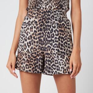 Ganni Women's Leopard Print Silk Blend Shorts - Leopard