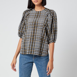 Ganni Women's Seersucker Check Top - Kalamata