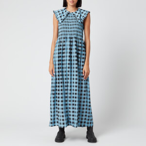 Ganni Women's Check Print Collar Dress - Alaskan Blue