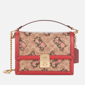 Coach 1941 Women's Signature All Over Horse and Carriage 3 by Guang Yu Hutton Shoulder Bag - Tan Red Apple