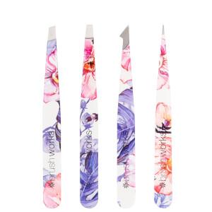 brushworks HD 4 Piece Combination Tweezer Set - Floral