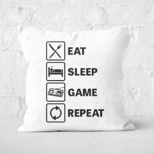Eat Sleep Game Repeat Square Cushion