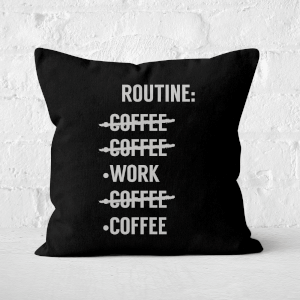 Coffee Routine Square Cushion