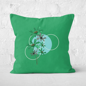 Pressed Flowers Cool Tones Flowers and Circles Square Cushion