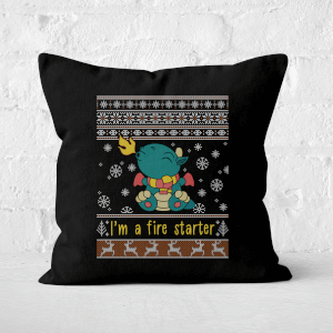 Cute Dragon Christmas Jumper Square Cushion
