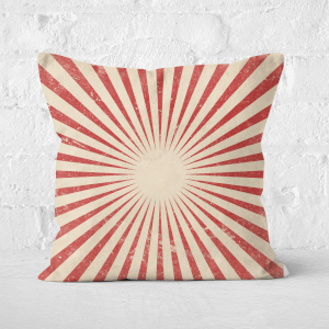 Pressed Flowers Circus Beams Red Square Cushion